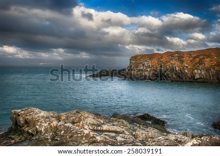 Cliffs in winter at Glanroon on Bantry Bay in West Cork, Ireland. - stock photo