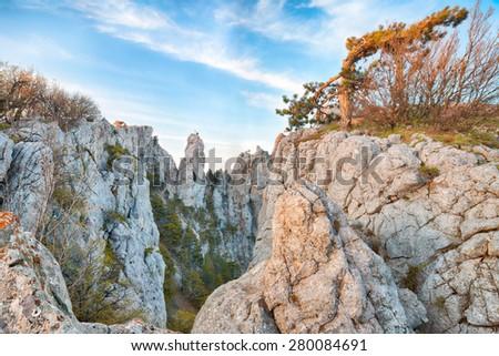 Cliffs of Ay-Petri mountain in Crimea, Ukraine - stock photo
