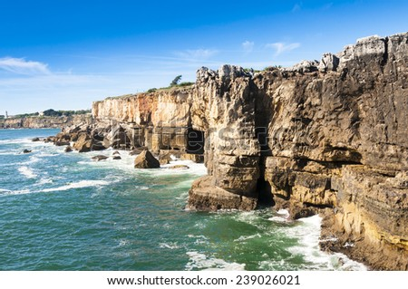 Cliffs of Boca de inferno (mouth of hell) in Cascais (Portugal) - stock photo
