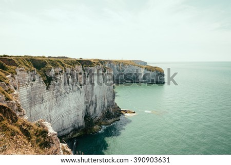 Cliffs of Etretat in Normandy, France