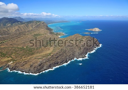 Cliffs of Makapuu Peninsula - view from helicopter - Oahu, Hawaii - stock photo