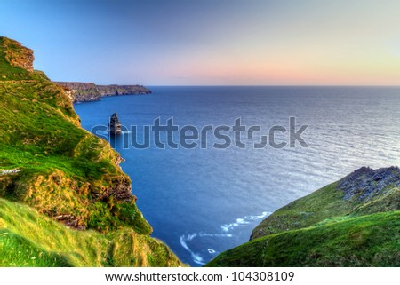 Cliffs of Moher at dusk in Co. Clare, Ireland - stock photo