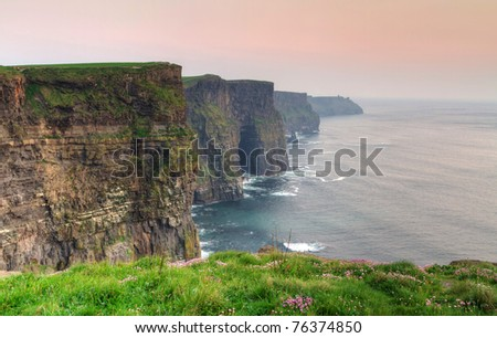 Cliffs of Moher at dusk - Irish national landmark - stock photo