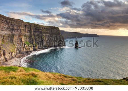 Cliffs of Moher at sunset, Co. Clare, Ireland. - stock photo