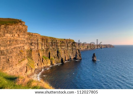 Cliffs of Moher at sunset in Co. Clare, Ireland - stock photo
