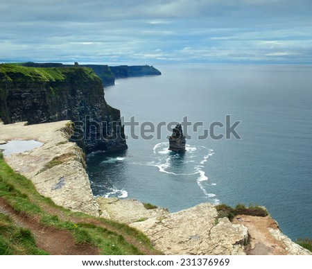 Cliffs of Moher at the coast of Ireland. Beautiful view on the Atlantic ocean.