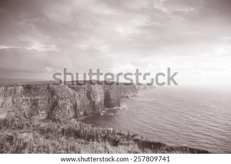 Cliffs of Moher, Clare Coast, Ireland in Black and White Sepia Tone