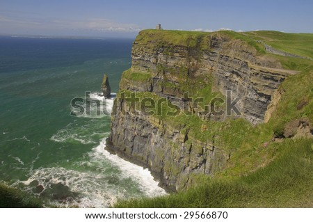 cliffs of moher, large cliffs, ireland - stock photo