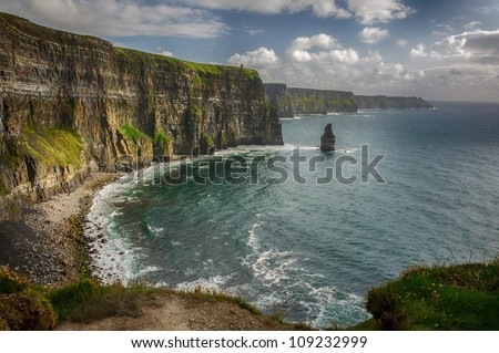 Cliffs of Moher, O Briens Tower, County Clare, Ireland. - stock photo