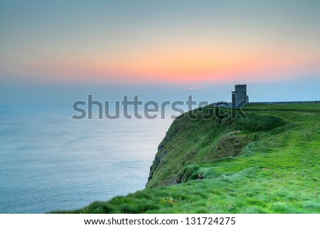 Cliffs of Moher - O'Briens Tower in Ireland - stock photo