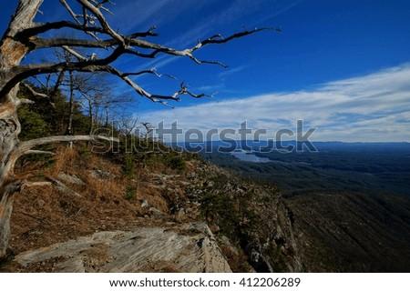 Cliffs of Shortoff Mountain Lake James, Shortoff Mountain, Linville Gorge, North Carolina - stock photo