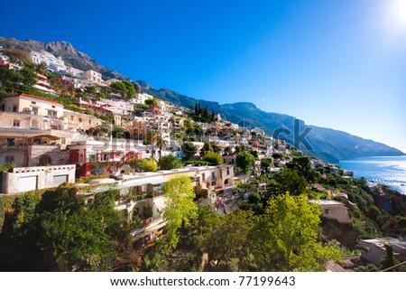 Cliffs of the Amalfi coast - stock photo