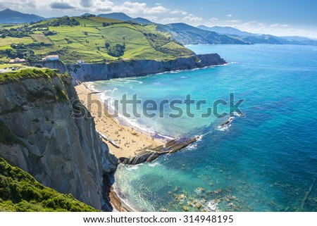 Cliffs of Zumaia, Basque Country (Spain) - stock photo
