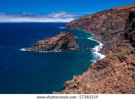 Cliffs on shoreline of La Palma - stock photo