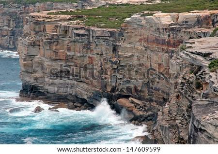 Cliffs on South Coast of Australia - stock photo