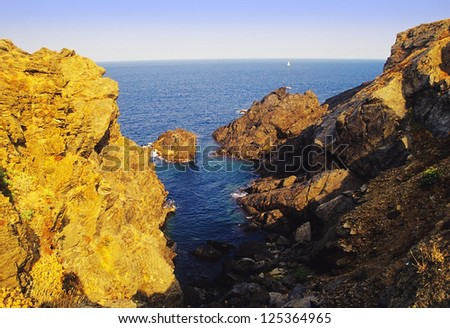 cliffs on the coast of the cote d'azur france - stock photo