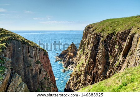 Cliffs on the Mull of Galloway - stock photo