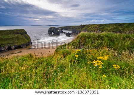 Cliffs over Atlantic Ocean in County Kerry, Republic of Ireland, Europe - stock photo