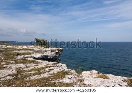 cliffs over the ocean - stock photo