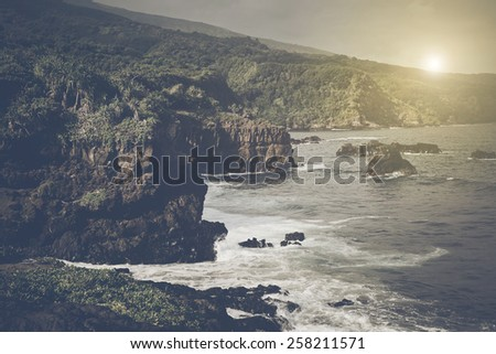 Cliffs over the Ocean in Maui Hawaii with Retro Instagram Style Filter - stock photo