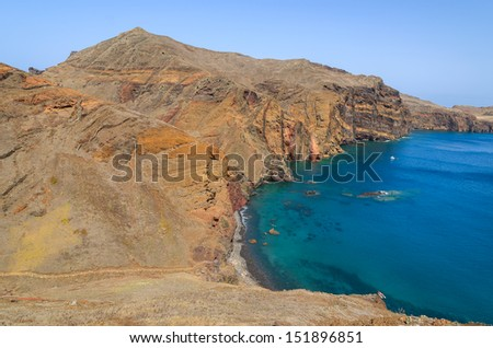 Cliffs rocks and ocean bay beach view from trekking trail on Punta de Sao Lourenco peninsula, Madeira island, Portugal