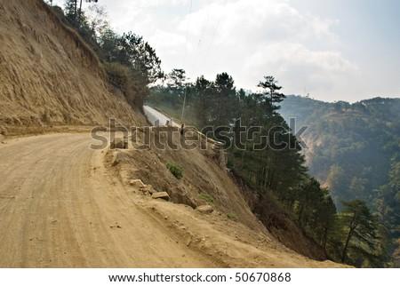 Cliffside Dirt Road - stock photo