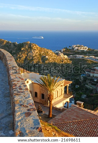 Cliffside Villa with a gorgeous ocean view - stock photo