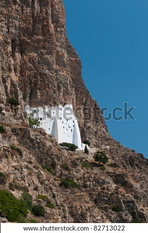 Cliffside White Monastery in Amorgos, Greece - stock photo