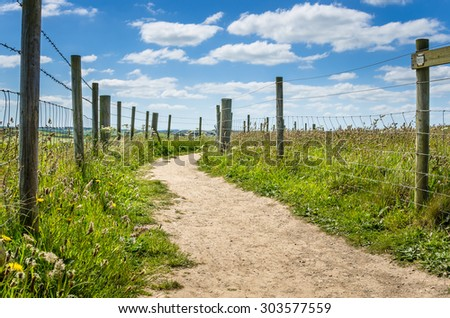 Clifftop Footpath between Wire Fences