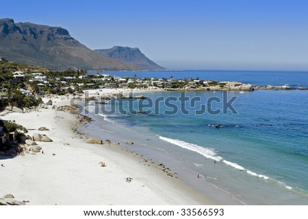 Clifton Beach near Cape Town, South Africa, a favourite holiday and tourism attraction and destination. - stock photo