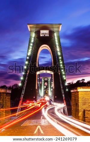 Clifton Suspension Bridge at Night - stock photo