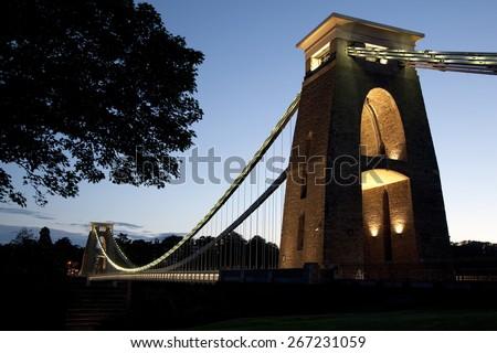 Clifton Suspension Bridge by Brunel, Illuminated at Night, Bristol, England, UK  - stock photo
