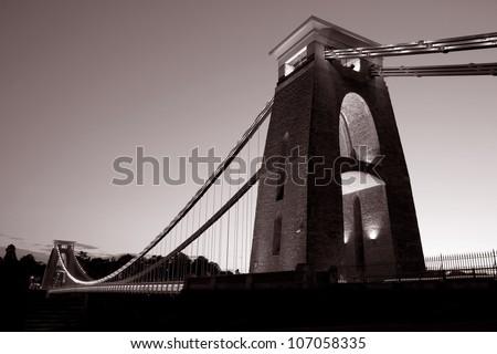 Clifton Suspension Bridge by Brunel, Illuminated at Night, Bristol, UK - stock photo
