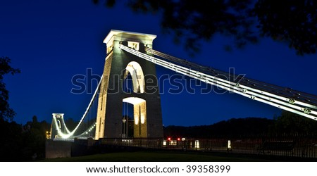 Clifton Suspension Bridge by night - stock photo
