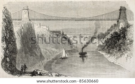 Clifton suspension bridge, England. By unidentified author, published on L'Illustration, Journal Universel, Paris, 1860 - stock photo