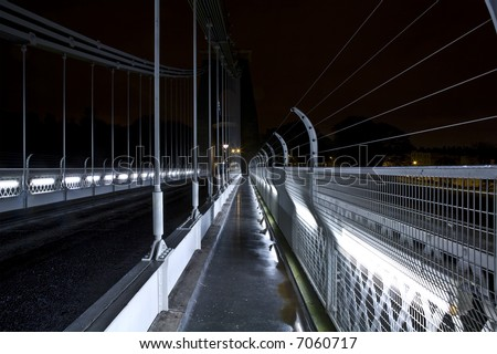 Clifton Suspension Bridge on a wet night - stock photo