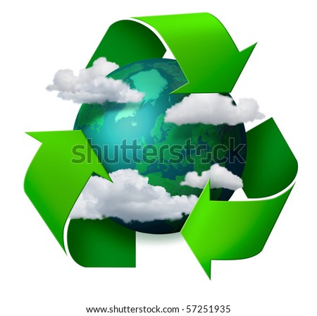 Climate change concept planet earth with clouds and recycling symbol arrows