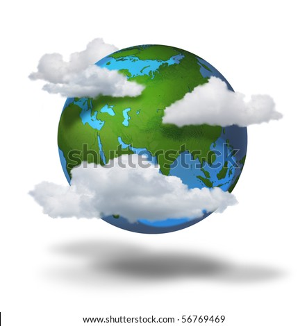 Climate change concept, planet earth with clouds covered continents and seas - stock photo