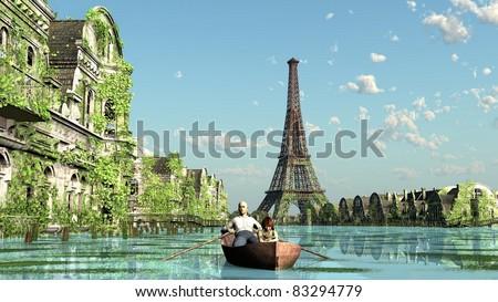 Climate change flood Paris france - stock photo