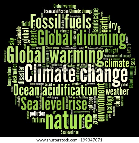 Climate Change in word collage - stock photo