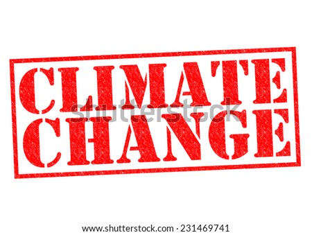 CLIMATE CHANGE red Rubber Stamp over a white background. - stock photo