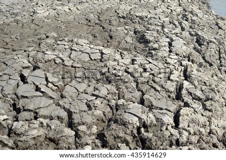 Climate change, the ground is dry, drought, cracked ground - stock photo