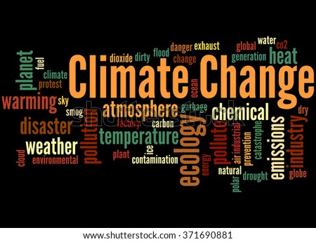 Climate change, word cloud concept on black background.  - stock photo