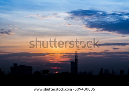 climate sunset sky with fluffy clouds and beautiful heavy weather landscape for use as background images and illustrations.