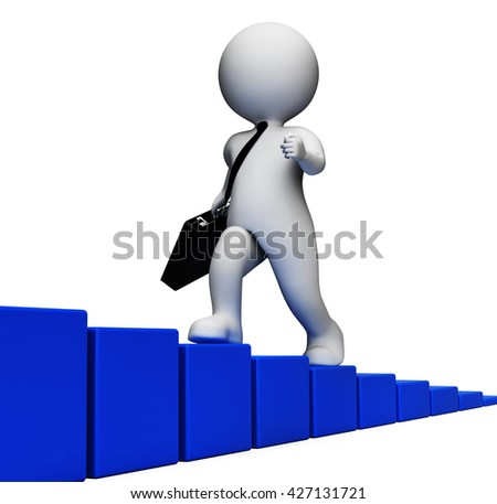 Climb Challenge Meaning Business Person And Increase 3d Rendering - stock photo