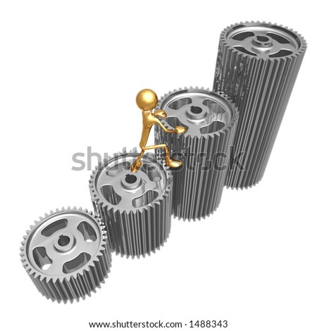 Climb Graph Gears - stock photo