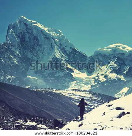 Climber in Himalayan mountain,Ama Dablan,Nepal - stock photo