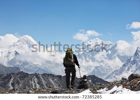 Climber in Himalayan mountain,Nepal - stock photo
