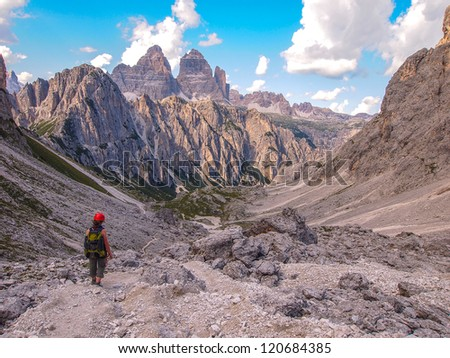 climber in the mountain at via ferrata, Italy, Dolomites - stock photo