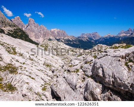 climber in the mountain via ferrata, Italy, Dolomites - stock photo